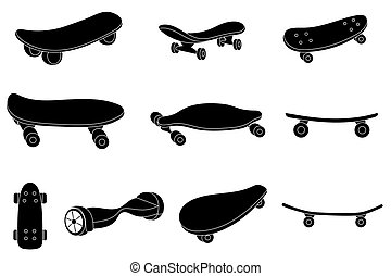 Set of black and white skateboards For labels, logos, icons...
