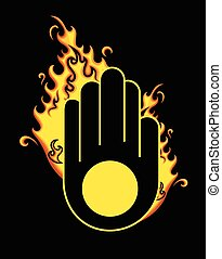 Retro Jainism Symbol with Fire Vector Illustration