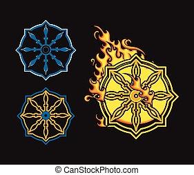 Wheel Of Dharma Symbols Vector