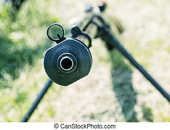 Close up photo of heavy sniper rifle from World War II,...