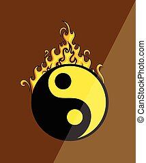Hot Yin Yang Symbol Vector Illustration