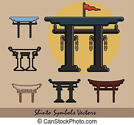 Set of Shinto Symbols Vector Illustration