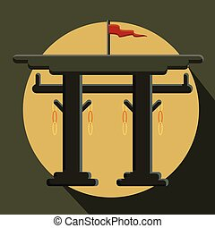 Vintage Torii Gate Vector Illustration