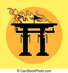 Burning Shinto Vector Illustration Sillhouette