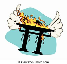 Burning Torii Gate Flying with Wings Vector Illustration