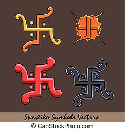 Auspicious Swastika Symbols Set Vector Illustration