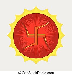 Spiritual Hinduism Swastik Symbol Vector Illustration