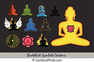 Set of Religious Buddhist Symbols