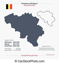 belgium - Kingdom of Belgium isolated maps and official flag...