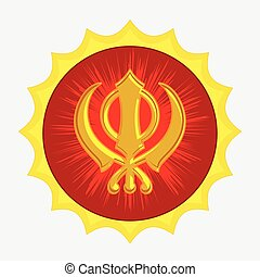 Golden Sikhism Symbol Badge Vector Illustration