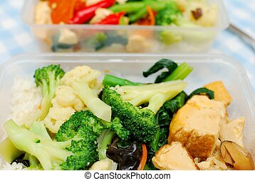 Many healthy vegetables for packed meal - Packed Chinese set...