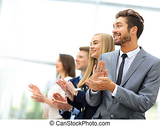 Satisfied proud business team clapping hands - Business...