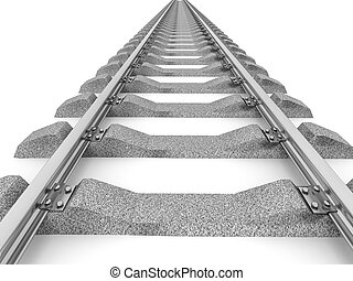 3D Illustration of a straight railroad track isolated on...