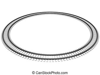 3D Illustration of a Single looped railroad track isolated...