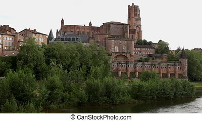 Castle and trees near lake, Albi, France