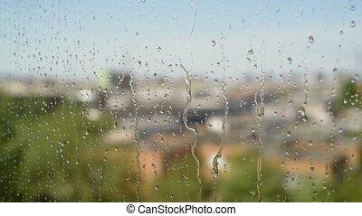 Rain on a sunny day. Soft focus