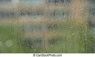 Summer rain with drops on the window