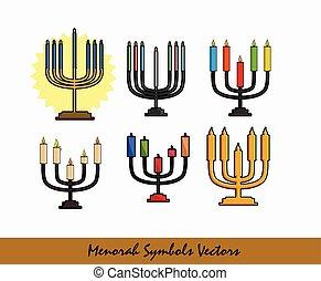 Menorah Symbols Set Vector Illustration