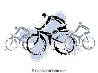 Cyclists grunge sylized - Three grunge stylized cyclists....