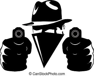 Gangster in shadow with twoo guns vector illustration