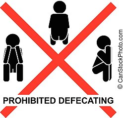 Print - prohibited defecating sign icon vector illustration