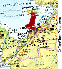 pin set on Jerusalem - Map of Israel with pin set on...
