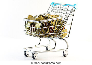 Little shopping cart full money - spending money concept