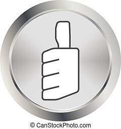 thumbs up icon metal button vector illustration