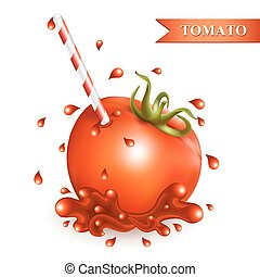 Red fresh tomato with tubule.