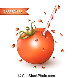 Red fresh tomato with straw.