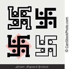 Hinduism Swastik Symbols Vector Illustration