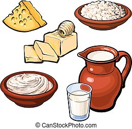 Set of dairy products, vector sketch hand-drawn illustration...