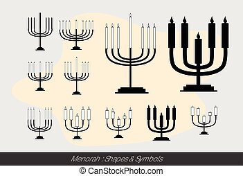 Menorah Symbols Vector Illustration
