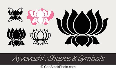 Ayyavazhi - Religious Lotus Symbols Vector Illustration