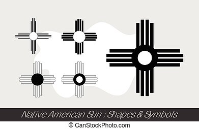 Native American Sun Symbols Vector Illustration