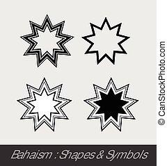 Baha'i Symbols Vector Illustration