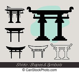 Shinto Symbols Vector Graphic Silhouettes