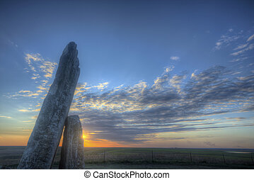Teter Rock, Flint Hills, Kansas - Teter Rock at sunset,...
