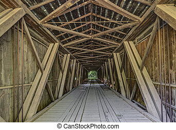Inside Cades Mill Covered Bridge - A look inside Fountain...