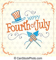 Happy Fourth of July. Vector Illustration with Hand Lettered...