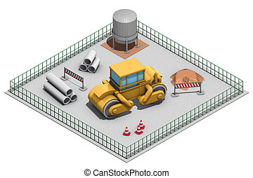 site steamroller - illustration wiew isometric, site with...