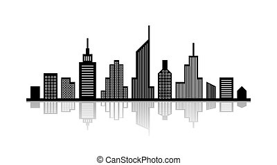 Cityscape with reflection