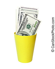 cash in a cup - cash in a yellow plastic cup...