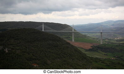 Panorama to bridge Viaduc de millau, France