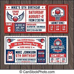 Basketball Vector Ticket Templates set2 - Colorful Vector...