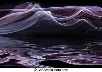 Reflected smoke - Colored smoke lines reflected in the water