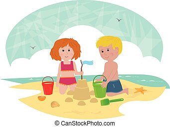 Building a Sandcastle - Clip art of a boy and a girl...