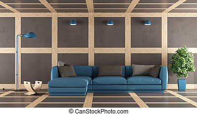 Brown and blue modern lounge