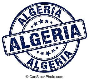 Algeria blue grunge round vintage rubber stamp