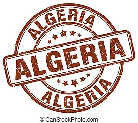 Algeria brown grunge round vintage rubber stamp